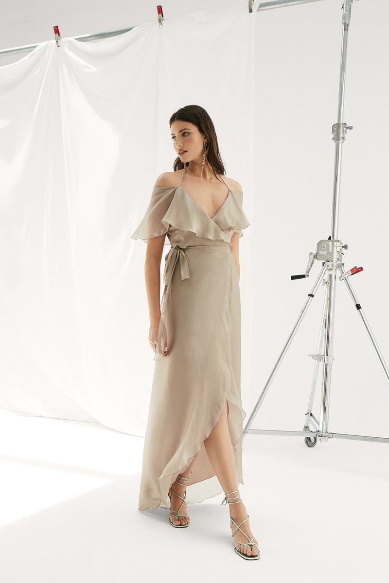 Guio nude silk dress