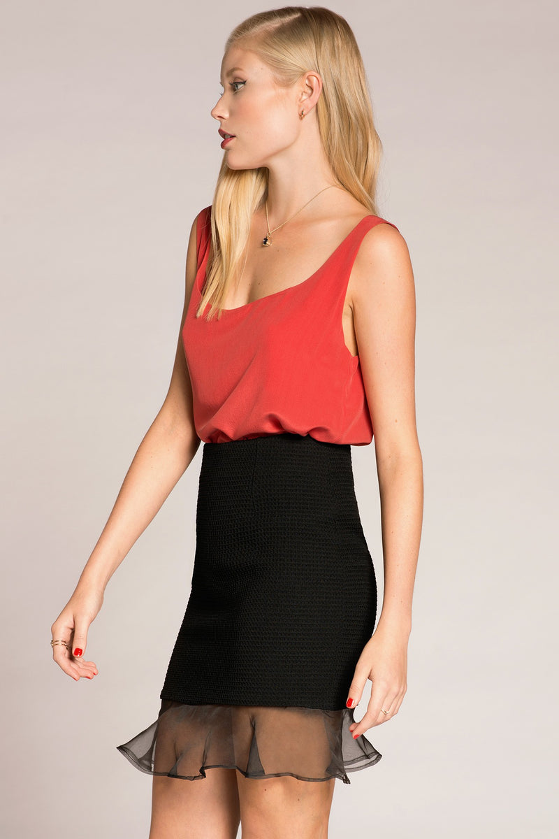 Red silk basic top