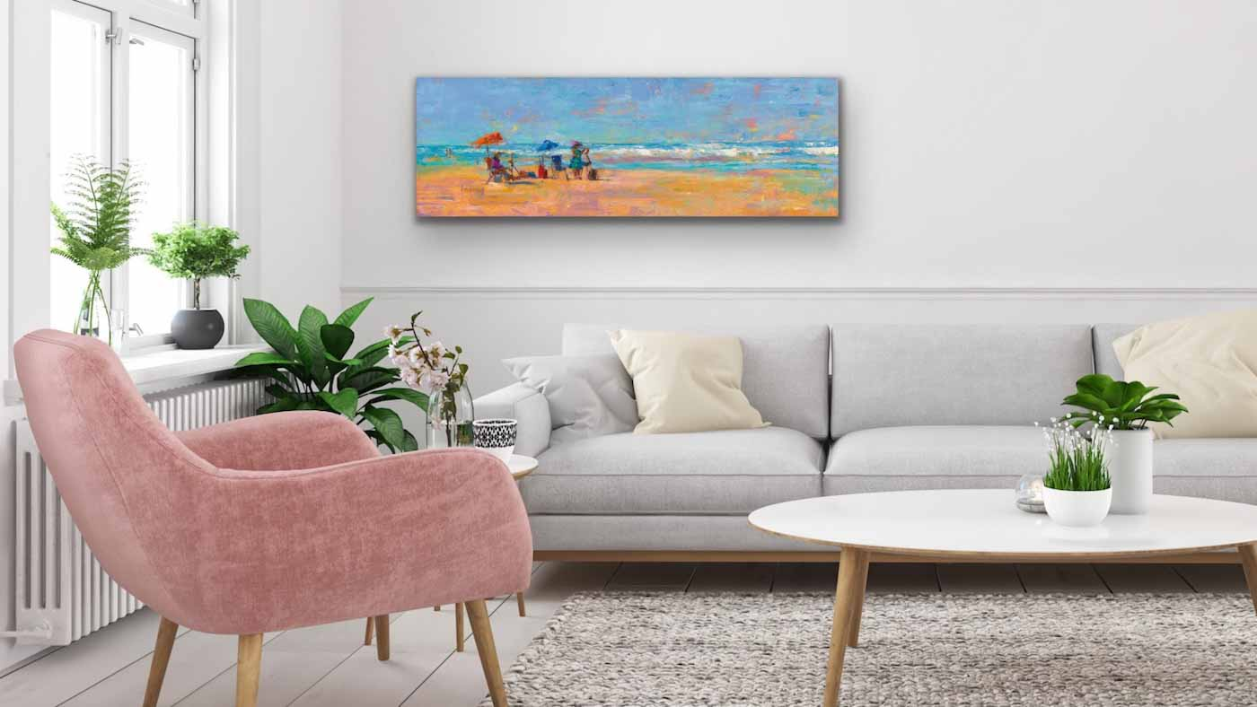 Contemporary living room interior decorated with original impressionist landscape oil painting Some Beach by artist Talya Johnson hanging above the couch.