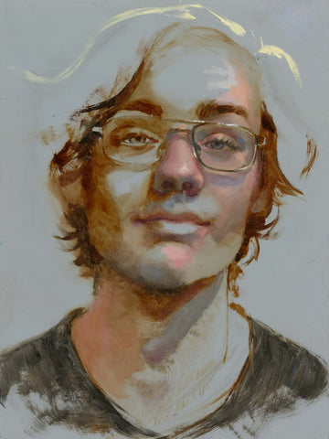 Deliberately unfinished tonal oil portrait painting of a young man with gray background