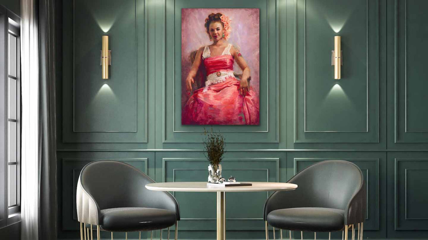 Contemporary green room interior with original oil portrait painting Artwork Girl with Flower Tattoo by artist Talya Johnson hanging on wall.