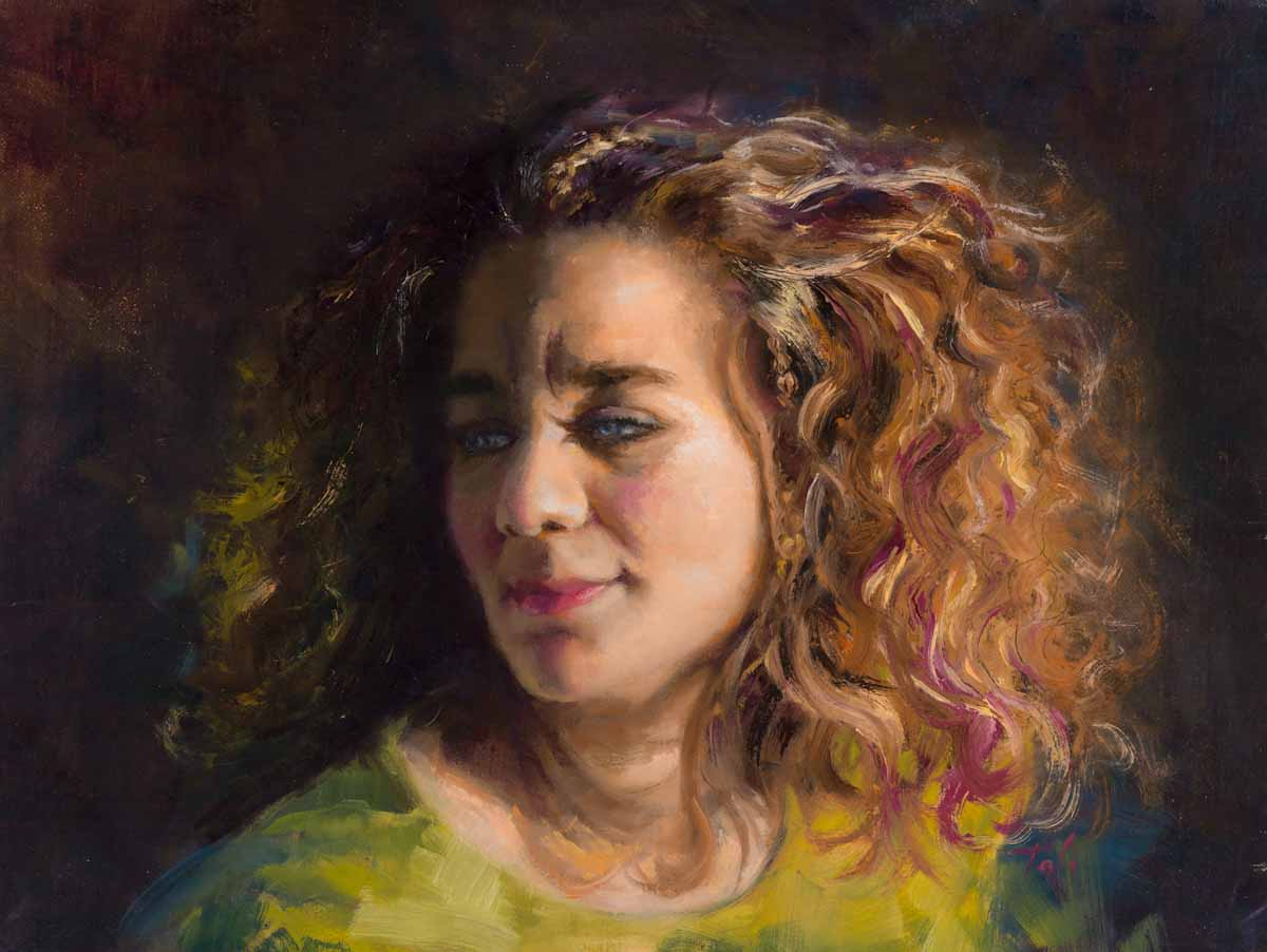 Three quarter half lighting oil painting self portrait of artist Talya Johnson Wearing green shirt with curly hair and tiny braids.