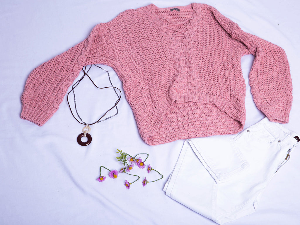 Pull tricot Rose  avec col ouvert