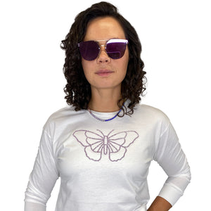Butterfly White Long Sleeve Top - Style Adix
