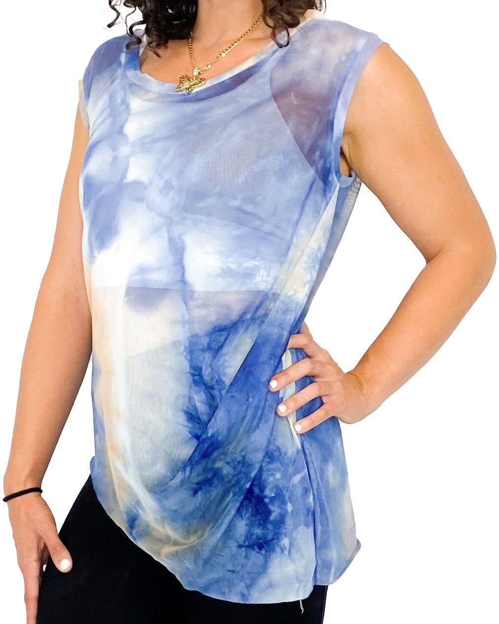 Blue Water Color Dreams Sleeveless Top - Style Adix