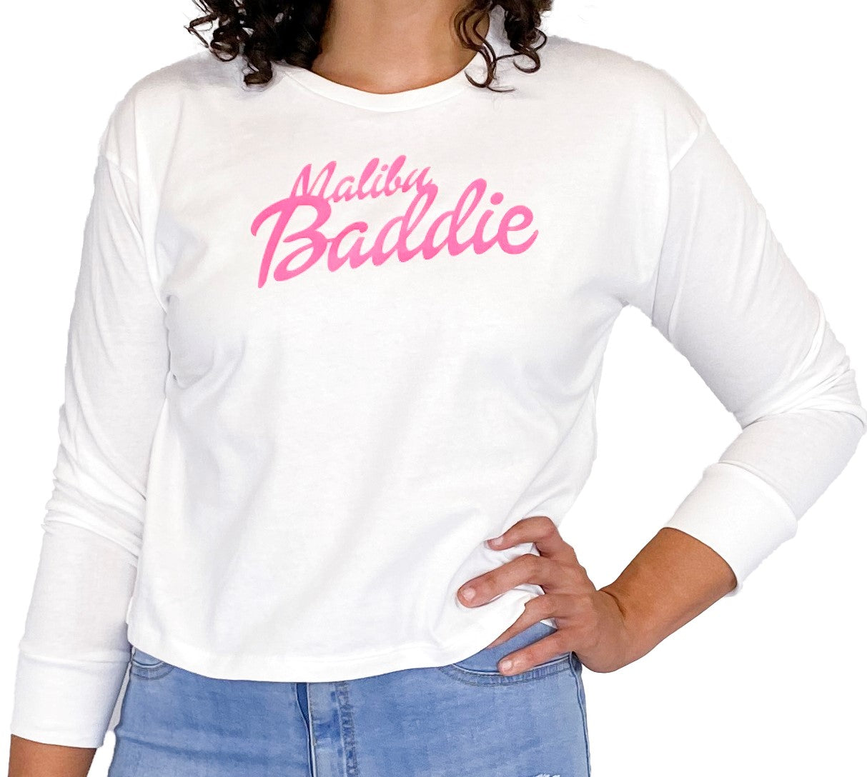 Malibu Baddie White Long Sleeve Crop Top - Style Adix