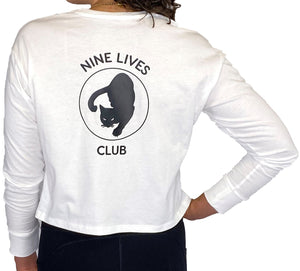 Nine Lives Club White Long Sleeve Crop Top - Style Adix