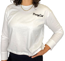 Load image into Gallery viewer, Nine Lives Club White Long Sleeve Crop Top - Style Adix