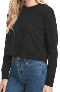 """I LOVE YOU"" Black Long Sleeve Crop Top - Style Adix"