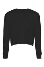 "Load image into Gallery viewer, ""WORTHY"" Black Long Sleeve Crop Top - Style Adix"