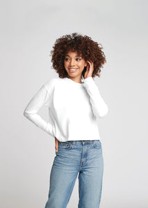 """YOU ARE PERFECT"" White Long Sleeve Crop Top - Style Adix"