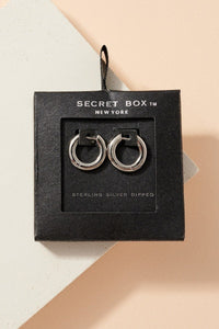 Thick mini hoop earrings from Secret Box Collection. - Style Adix