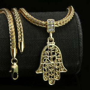 18K Gold Plated Hamsa Hand Pendant Necklace - Style Adix