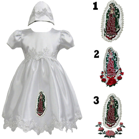 3 PCS Baby Girl /& Toddler White Christening Church Dress Gown for Baptism 0-30M