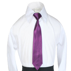 Unotux 2pc Boys Satin Eggplant Vest and Necktie Set from Baby to Teen