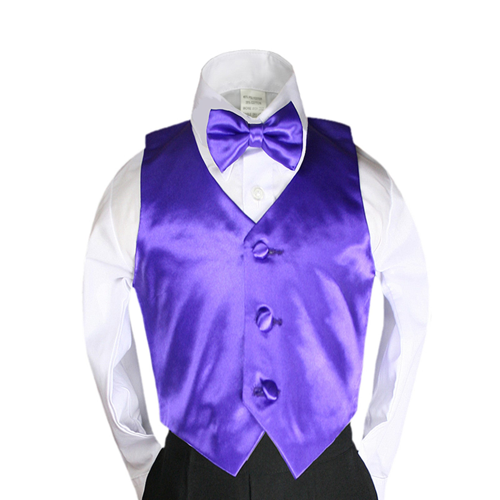 Unotux 2pc Boys Satin Silver Vest and Necktie Sets from Baby to Teen