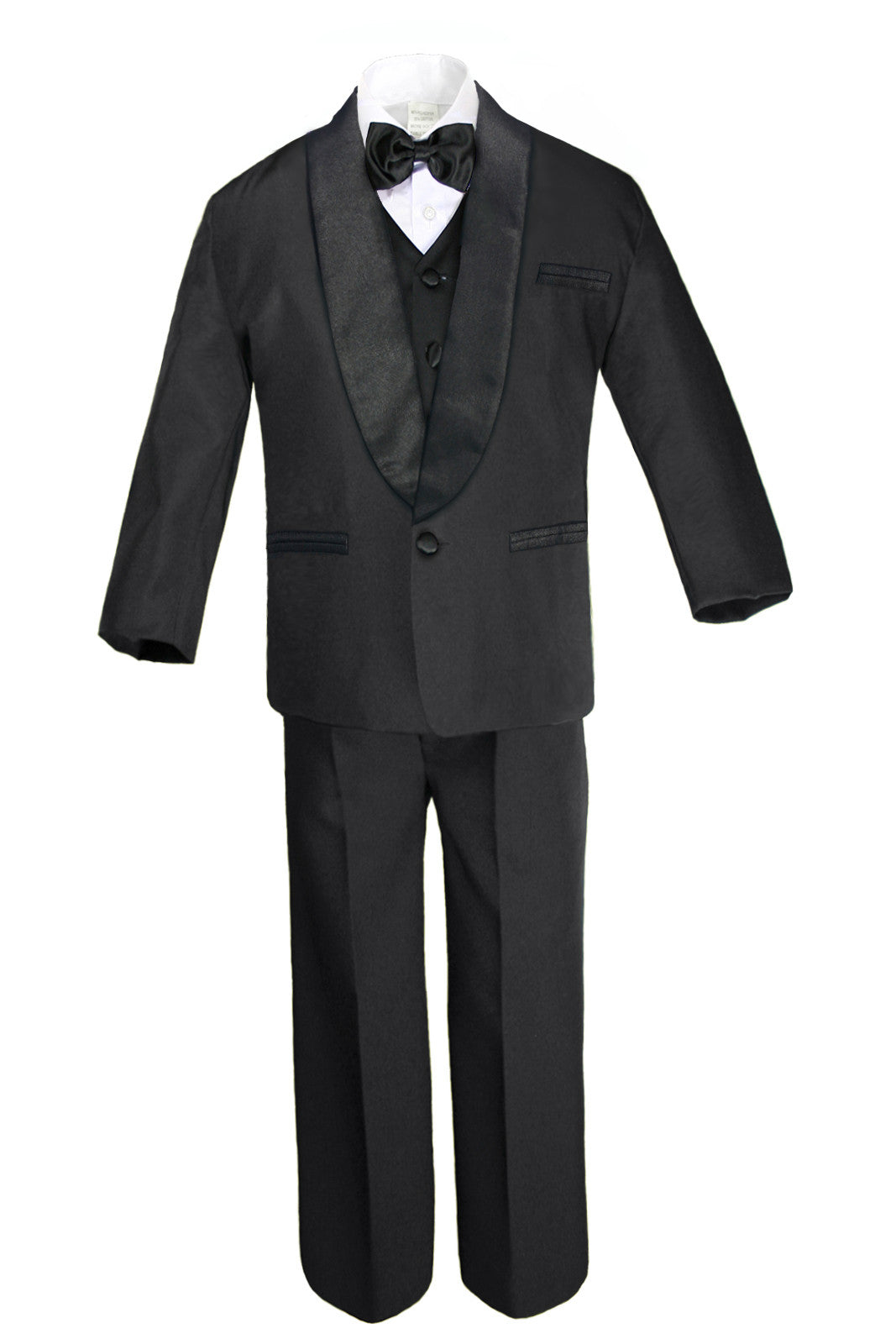 Burgundy Bow Tie S-4T Baby Toddler Boy Black Formal Wedding Party Suit Tuxedo