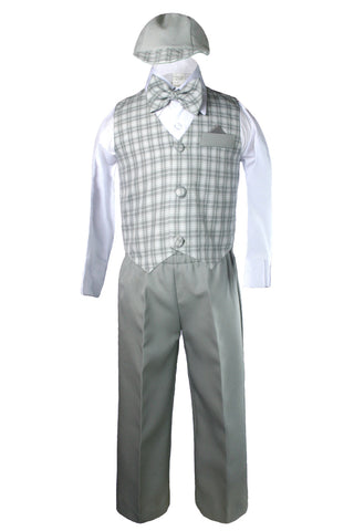 Unotux Baby Boys Toddler Formal Silver Gray Gingham Checks Vest Pants Sets Eton Suits Cap Hat Outfits S - 4T