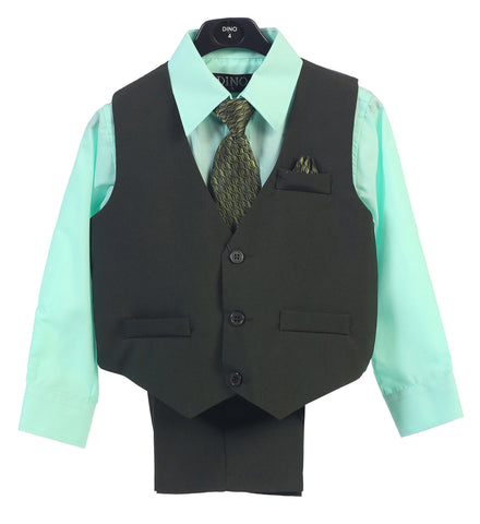 Baby Toddler Boys Green Teal Turquoise Oasis Formal Wedding Vest Set  Suits S-14