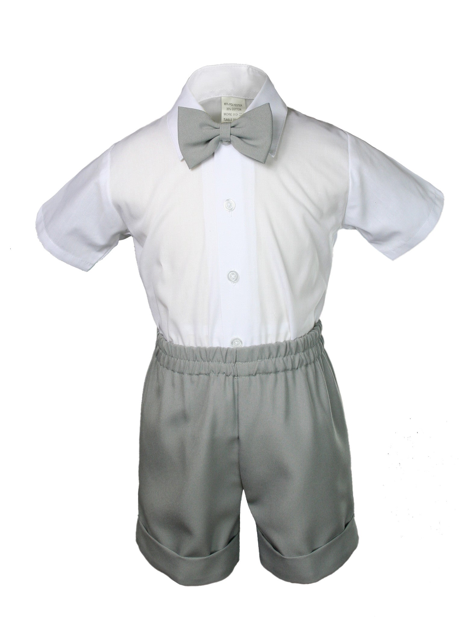 Dark  Gray Infant Boy Toddler Formal Bowtie Hat Vest shorts Outfit Suit S-4T