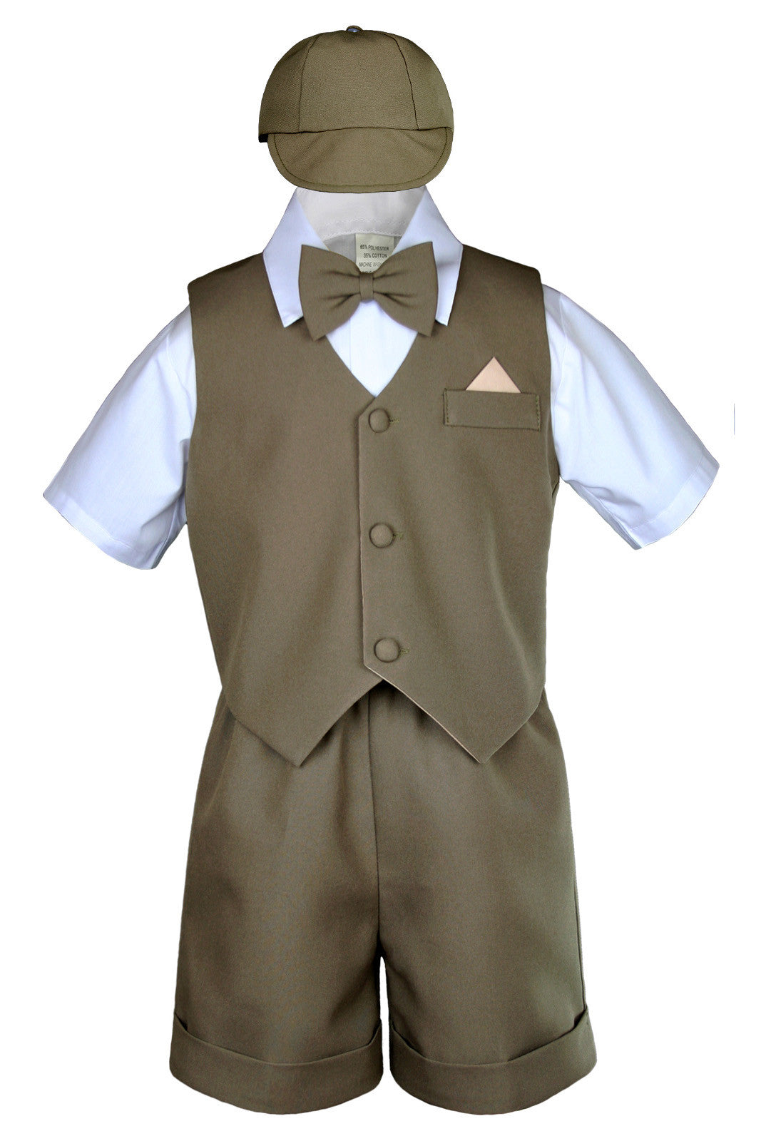 New Baby Boy /& Toddler Formal Vest shorts Bowtie Hat Suit Outfits 0M 4T Khaki