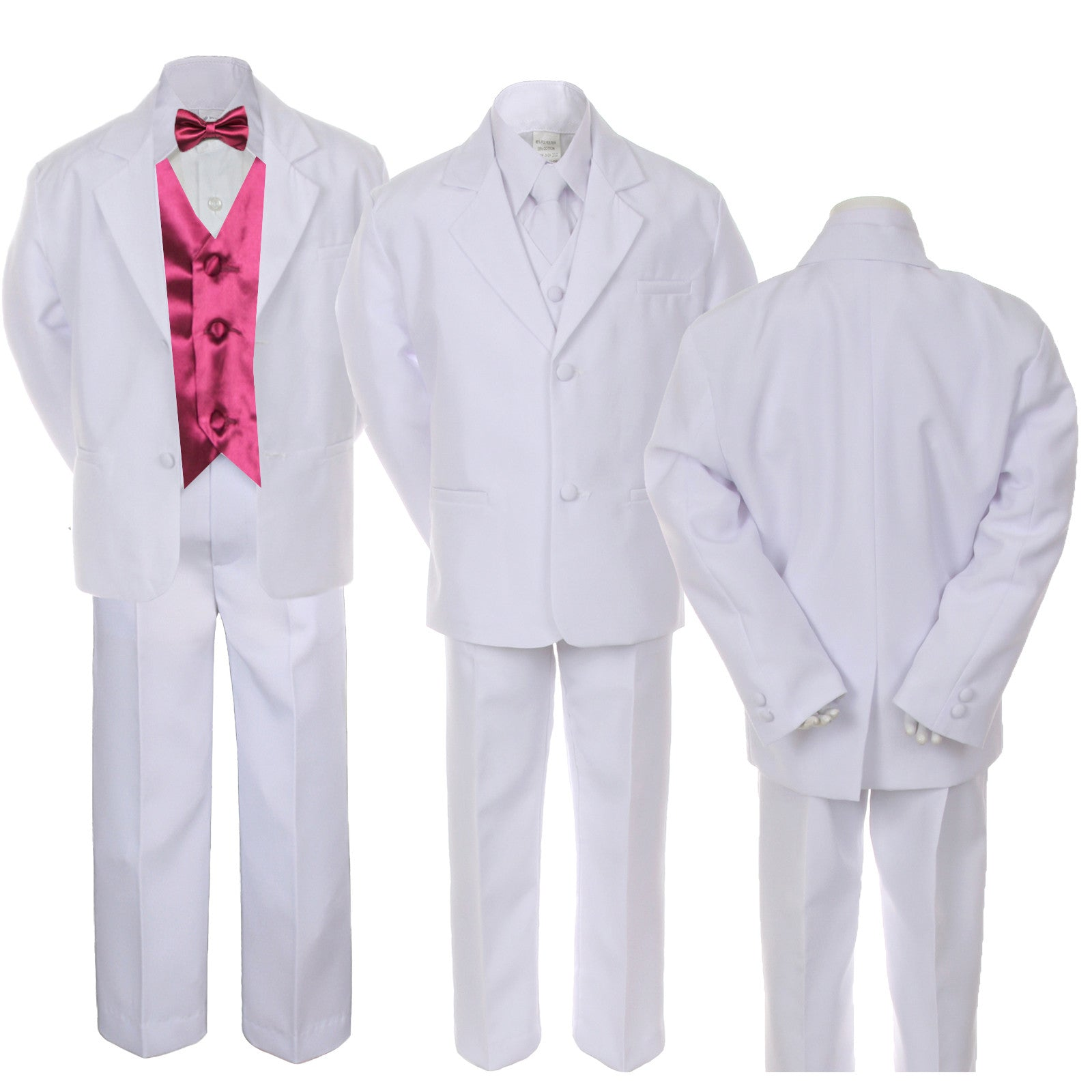 7pc Boy Kid Teen White Formal Wedding Party Suit Tuxedo BURGUNDY ...