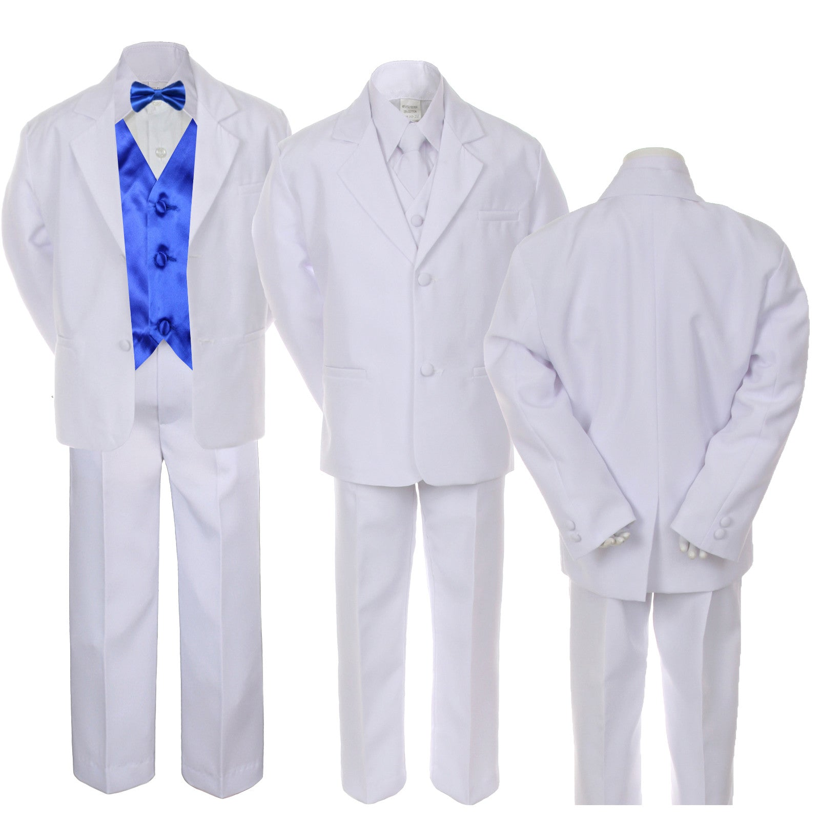 7pc Boy Kid Teen White Formal Wedding Party Suit Tuxedo ROYAL BLUE ...