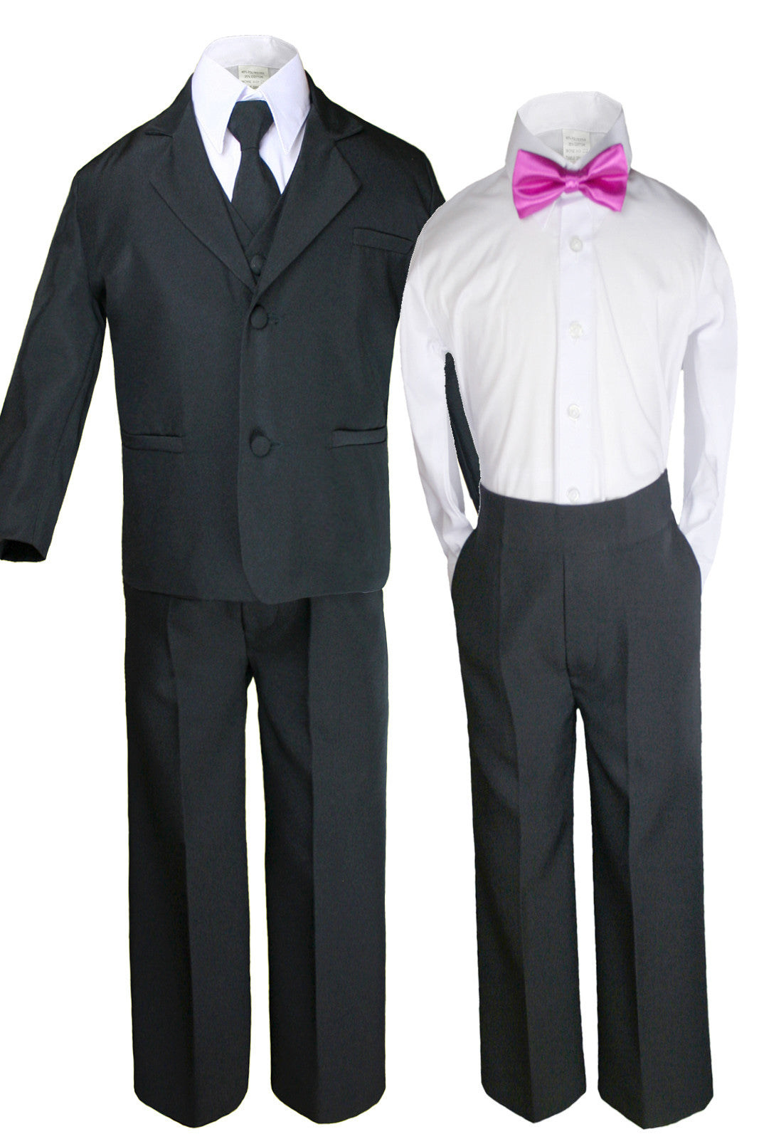 422bfa0bcb Unotux 6 Pcs Boys Black Formal Suits with Satin Fuchsia Pink Bow Tie Sets  for All