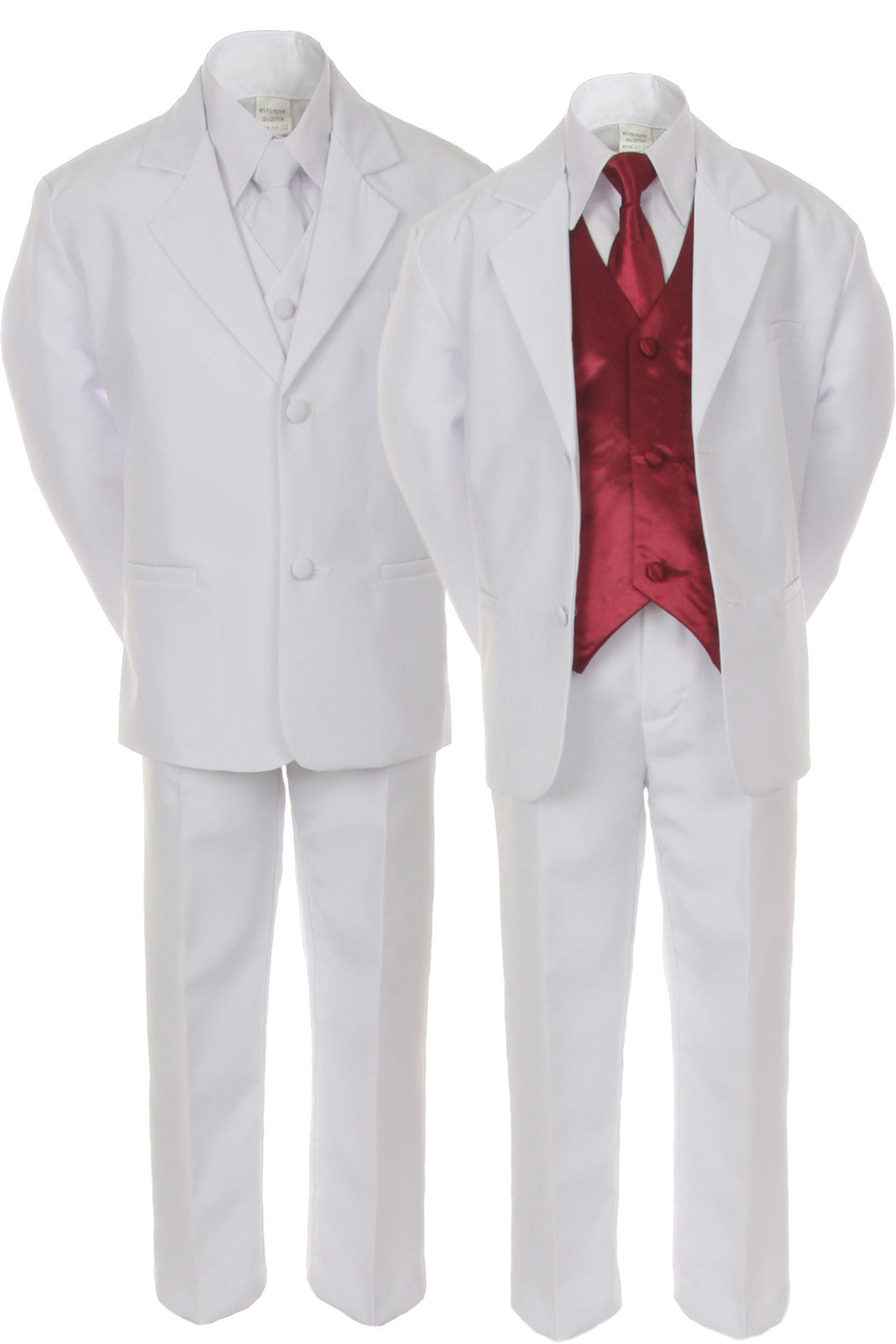 7pc Boy Kid Teen White Formal Wedding Party Suit Tuxedo with ...