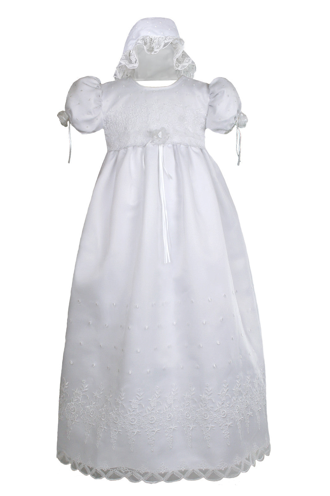 Flower Baby Girls White Organza 2PC Dress Long Gown Christening Baptism Bonnet