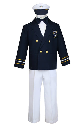 Unotux Baby Boys Toddler Nautical Captain Customs Navy Blue Sailor Suits Outfits White Pants M - 7