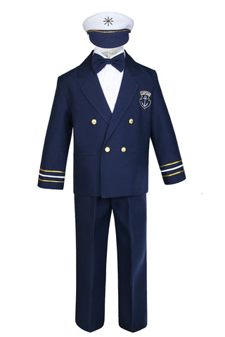 Unotux Baby Boys Toddler Nautical Captain Customs Navy Blue Sailor Suits Outfits M - 7