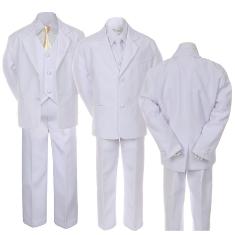 6pc Baby Toddler Kid Boy White Formal Wedding Suit Tuxedo w/ Champagne Solid Satin Necktie SM-20