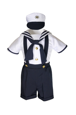 Unotux Baby Boys Toddler Nautical Customs Navy Blue Sailor Suits Suspenders Outfits S - 4T
