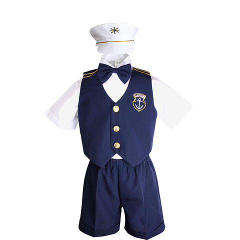 Unotux Baby Boys Toddler Nautical Customs Navy Blue Sailor Suits Vest Sets Outfits Newborn to 3T
