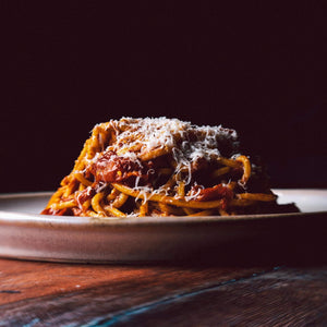 Load image into Gallery viewer, Chitarra with Confit Tomato, Anchovy, Chilli, Garlic and Ricotta Salata