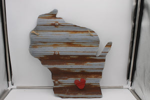 Wisconsin metal sign with magnet heart