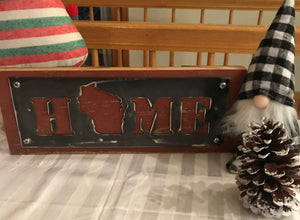 Wisconsin HOME barn wood sign