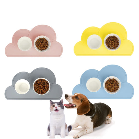 Silicone Pet Dog Placemat Waterproof Cloud Shape Feeding Mat Pad For Cat Easy Washing Bowl Food Drinking Water Pet Supplies
