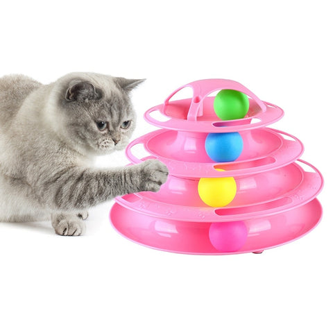 4 Levels Pet Cat Interactive Toy Tower Tracks Disc Cat Intelligence Toy  Amusement Triple Pay Disc Cat Toys Ball Training Plate