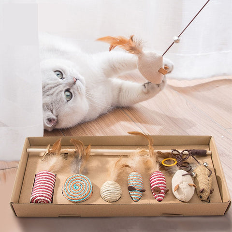 7 Style/1 Set Cat Toy Hemp Rope Interactive Stick Funny Cats Toys Kitten Mouse Fishing Game Wand Feather Pet Supplies Accessory