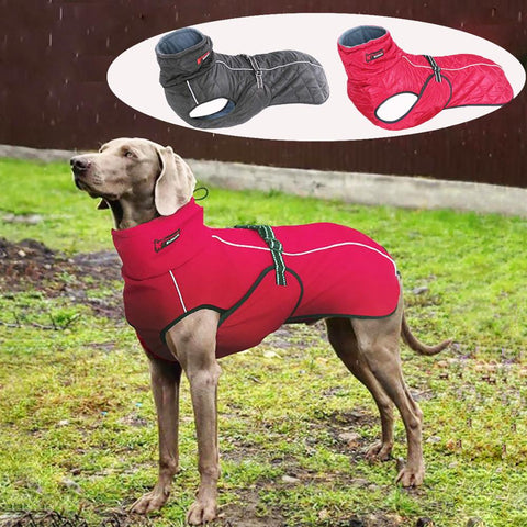 Dog Outdoor Jacket Waterproof Dog Clothes Vest Winter Warm Cotton Dogs Clothing for Large Middle Dogs  Labrador red black
