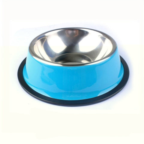 New Pet Dog Stainless Steel Bowls Puppy Cats Food Drink Water Dish Feeder Travel Feeding Non-slip Feeding Dishes Pets Supplies