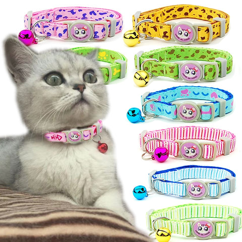 3 pieces/lot Cat Collar Breakaway Safety Adjustable Pet Supplies Kitten Bone Stripe Puppy Cats Necklace Pet Accessories