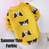 Summer Dog Clothes Spring Cartoon Print Animal Clothes For Dogs T-shirt Vest Yorkshire For Small Medium Bulldog Outdoor Costumes