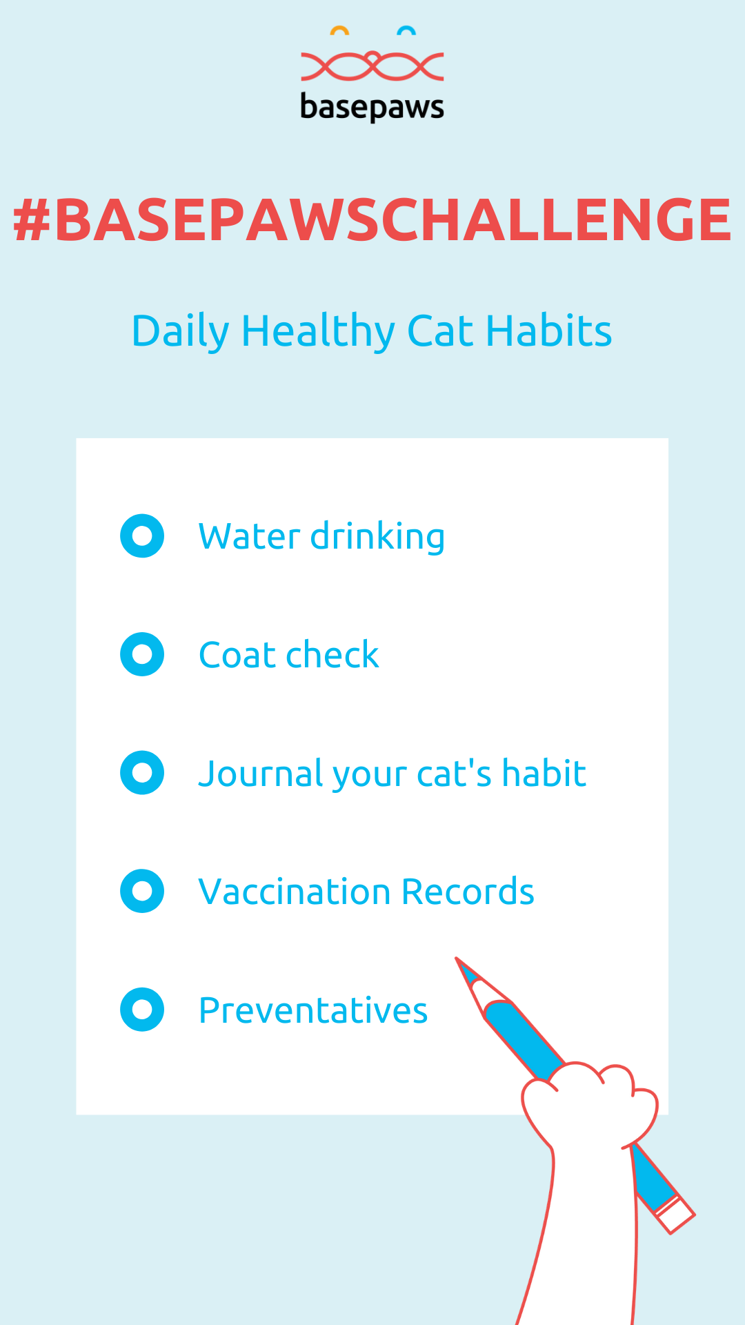 Week 1 - Checklist for your Basepaws Cat Challenge
