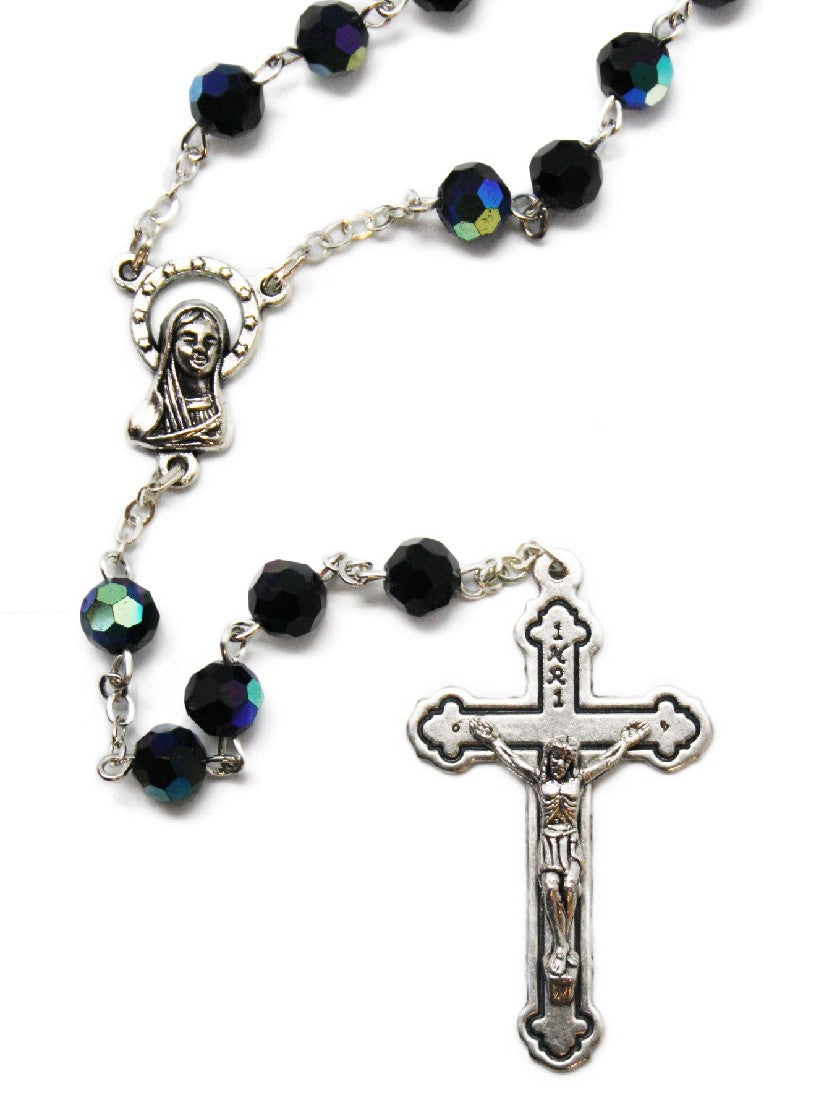 CRYSTAL ROSARY BEADS BLACK