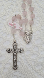 Load image into Gallery viewer, ROSARY BEADS PRECIOUS STONE ROSE QUARTZ!