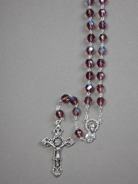 CRYSTAL ROSARY BEADS AMETHYST