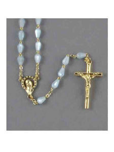 MOTHER OF PEARL ROSARY BEADS TEARSHAPE BLUE